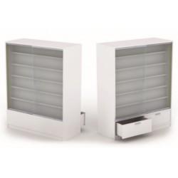 Mostrador para tiendas madera blanco brillo 120x150x5cm