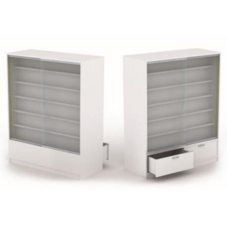 Mueble expositor para tiendas en blanco brillo 120x150x5cm