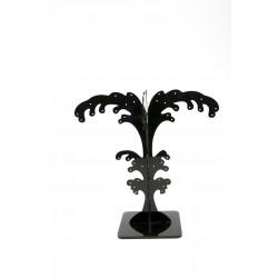 Expositor para pendientes acrílico negro forma palmera 20 cm