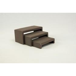 Expositor forma C lino marrón 3 alturas