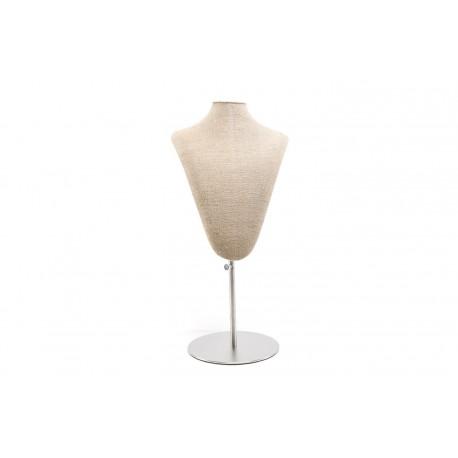 Busto expositor de collares en lino grueso regulable con base de acero