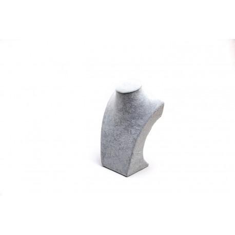 Busto expositor para collares en terciopelo gris 21 cm