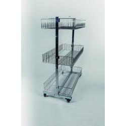 Expositor de metal con tres cestas en cromado.