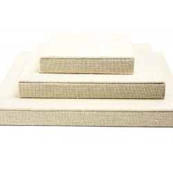 Expositor de lino cuadrado color beige 3 piezas