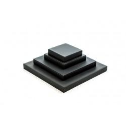 Conjunto expositor de joyería cuadrado polipiel color negro 4 piezas