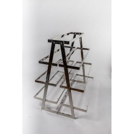 Expositor de acero con baldas forma pirámide