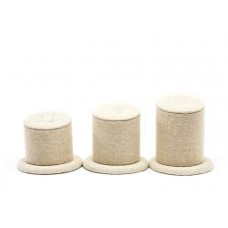 Conjunto expositor para anillos en lino beige 3 alturas