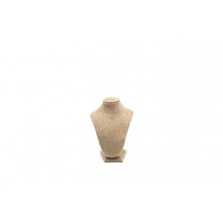 Busto expositor de collares en lino grueso 22.5 cm
