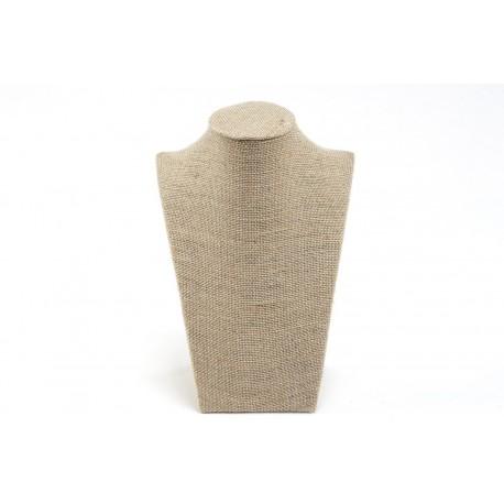 Expositor para collares lino grueso beige 21.5x15x9cm