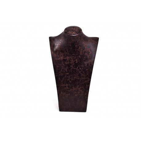 Busto expositor para collares en polipiel veteado marrón 39 cm