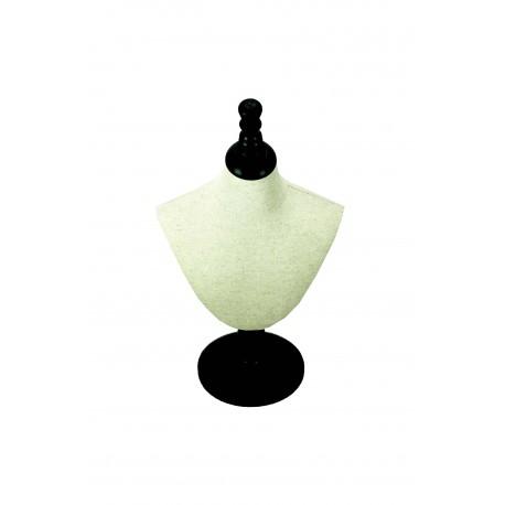Busto expositor para collares regulable en lino beige con pie madera negra