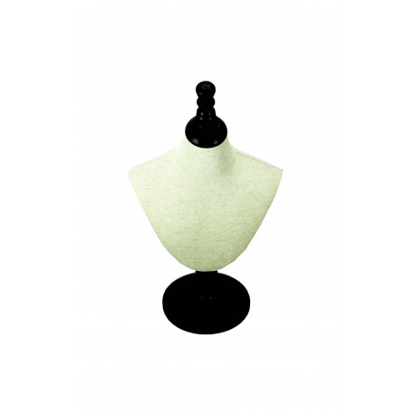 Expositor para collares regulable lino beige con pie madera negra