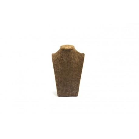 Busto expositor para collares en terciopelo marrón 21 cm
