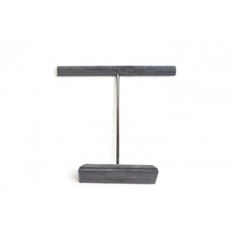 Expositor para anillos forma T terciopelo gris oscuro 21x5x2.5cm