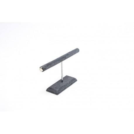 Expositor para anillos y pulseras en terciopelo gris oscuro 20.5x12 cm