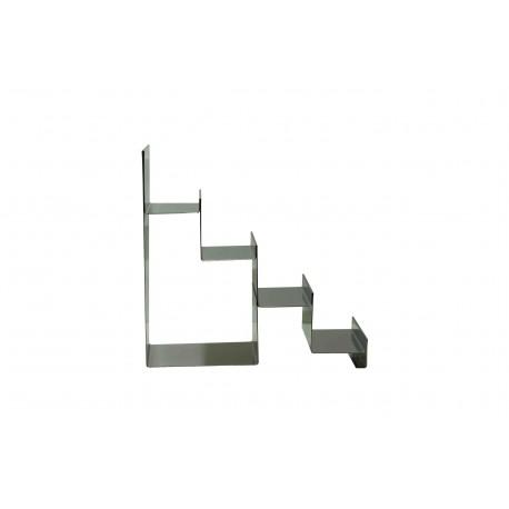 Expositor de acero cromado forma escalera 4 alturas