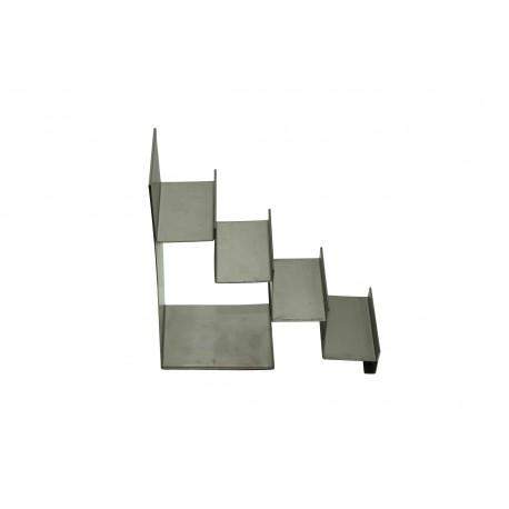 Expositor de acero mate forma escalera 4 alturas