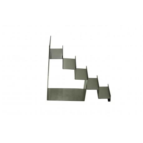 Expositor de acero mate forma escalera 5 alturas
