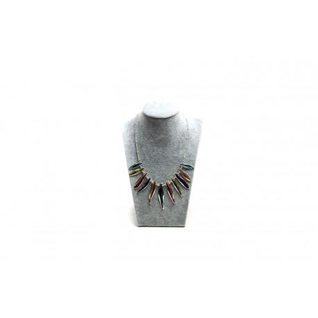 Busto expositor para collares en terciopelo gris 30 cm