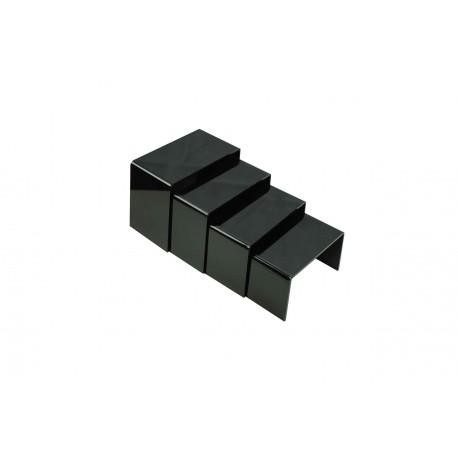 Expositor acrilico color negro brillo a 4 alturas.