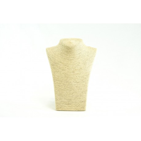 Expositor para collares revestido en cuerda beige 28x12x21cm