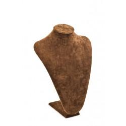 Busto expositor para collares en terciopelo marrón 36 cm