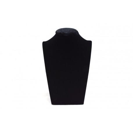 Busto expositor para collares en terciopelo negro 18 cm