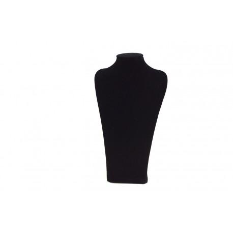 Busto expositor para collares en terciopelo negro 20 cm