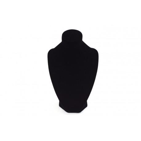 Busto expositor para collares en terciopelo negro 24 cm