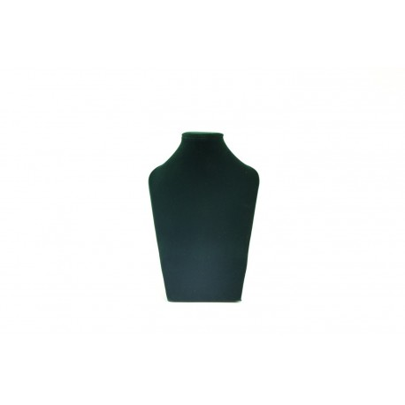 Busto expositor para collares en terciopelo verde oscuro 28 cm