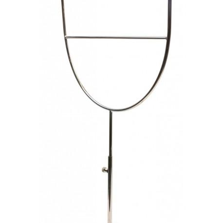 Expositor de sombreros regulable a 2 alturas en acero cromado.