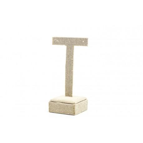 Expositor de pendientes forma T lino beige 11.5x4.5x6.5 cm