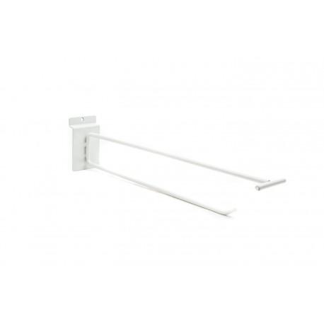 Gancho soporte doble blanco con portaprecios para panel de lamas 30 cm