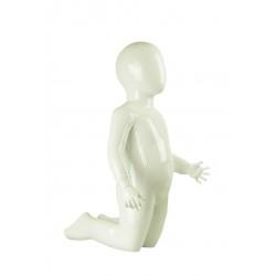 Maniquí infantil arrodillado color blanco brillo