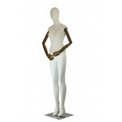 Maniquí de mujer color blanco y tela beige con brazos articulables.