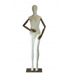 Maniquí de mujer tela y brazos articulados blanco