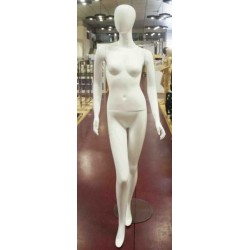 Maniquí de mujer fibra vídrio sin facciones blanco brillo