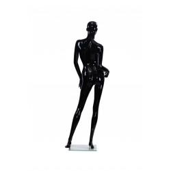 Maniquí de mujer color negro brillo con facciones