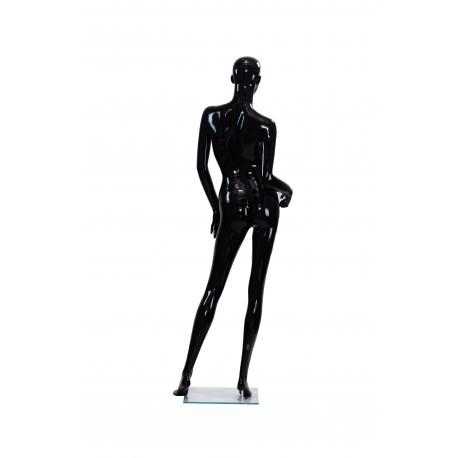 Maniquí de mujer negro brillo con facciones