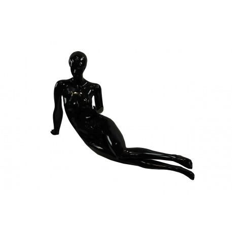 Maniquí de mujer fibra de vídrio tumbada negro brillo