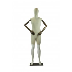 Maniquí de hombre blanco brillo y tela con brazos articulables