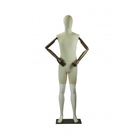 Maniquí de hombre fibra vídrio y tela con brazos articulados blanco brillo