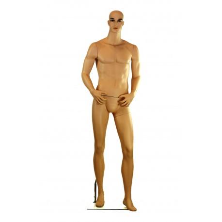 Maniquí de hombre realista de fibra color beige