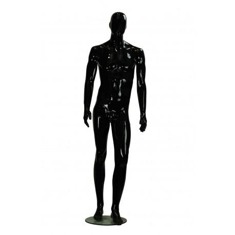 Maniquí de hombre fibra vídrio negro brillo con facciones