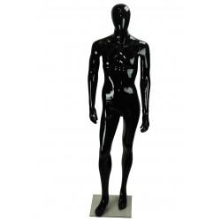 Maniquí de hombre fibra vídrio negro brillo sin facciones rodilla doblada