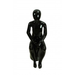 Maniquí infantil fibra de vídrio negro brillo sentado