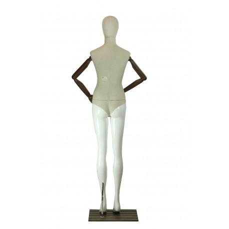 Maniquí de mujer fibra vídrio y tela beige brazos articulados