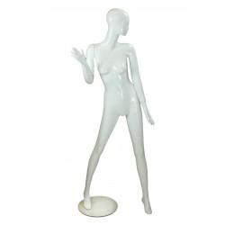Maniquí de mujer fibra de vídrio blanco brillo
