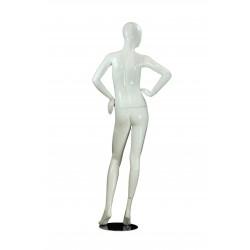 Maniquí de mujer blanco brillo base metal