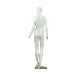Maniquí de mujer fibra de vídrio blanco brillo con facciones